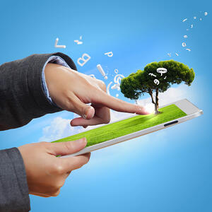 Modern green technology for ecology protection illustration