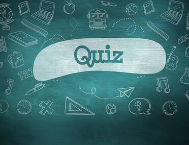 The word quiz and school graphics against green chalkboard