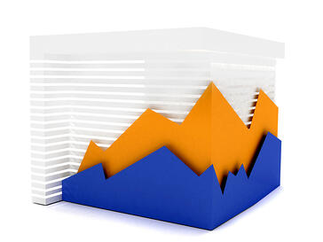 business graphic showing a volatile behaviour isolated